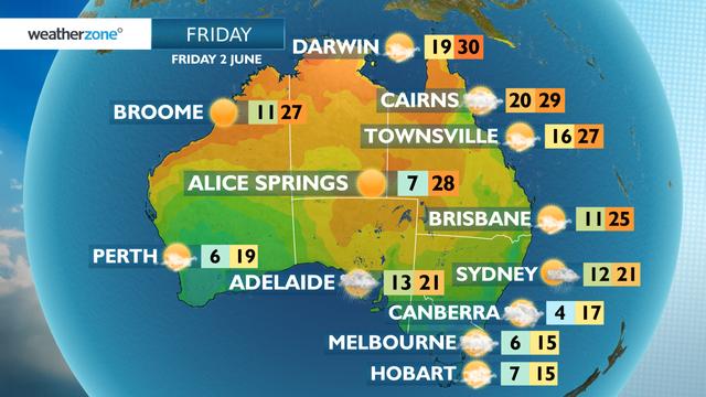 Forecast temperatures contour map