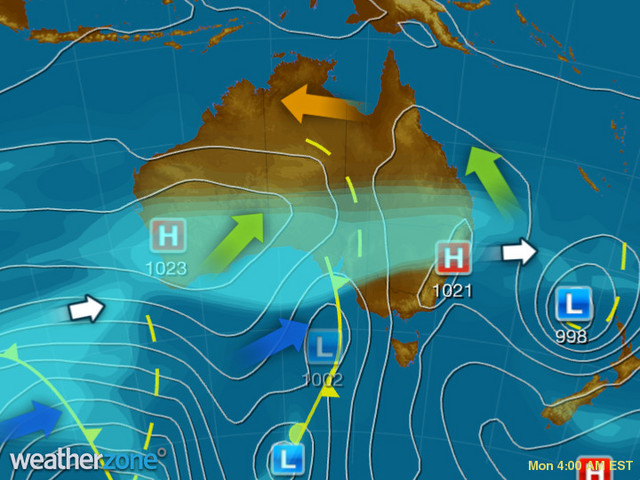 Synoptic outlook for Australia on Tue 21 Jan 2020