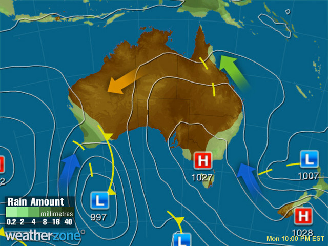 Synoptic outlook for Australia on Wed 22 Jan 2020