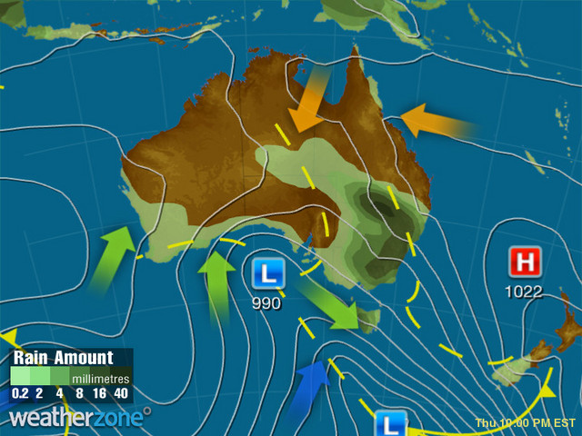 Synoptic outlook for Australia on Sun 18 Nov 2018