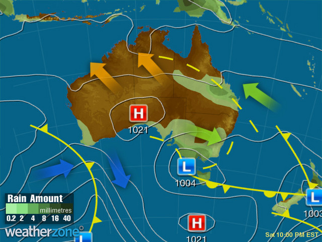 Synoptic outlook for Australia on Sat 25 Jan 2020