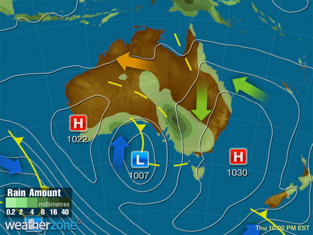 Synoptic outlook for Australia on Tue 24 Oct 2017