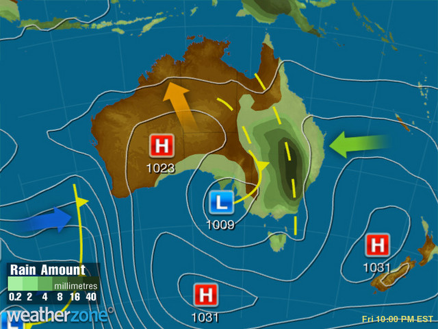 Synoptic outlook for Australia on Mon 19 Nov 2018