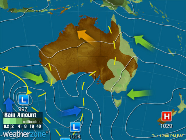 Synoptic outlook for Australia on Mon 27 Jan 2020
