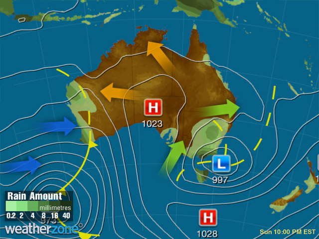Synoptic outlook for Australia on Tue 20 Nov 2018