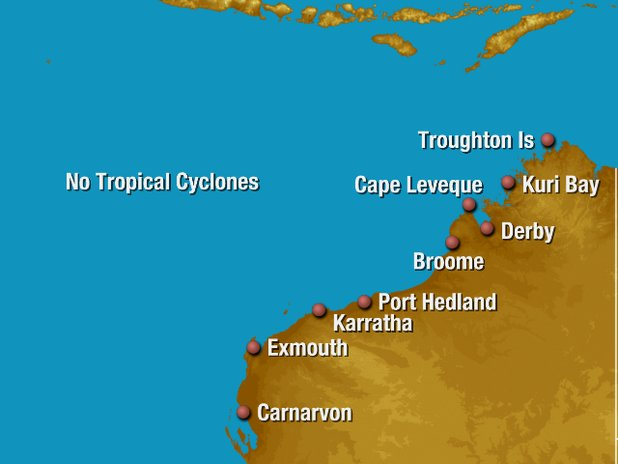 Western Australia tropical cyclone track map