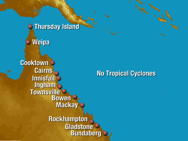 Queensland tropical cyclone Track Map