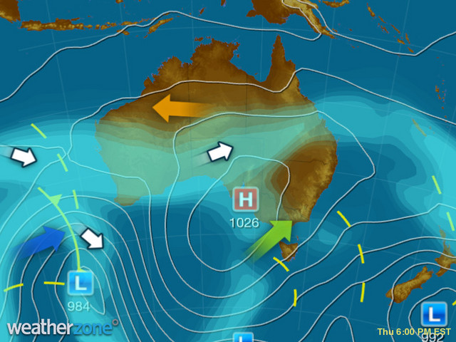 Synoptic outlook for Australia on Wed 05 Aug 2020
