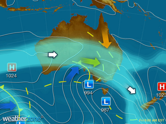 Synoptic outlook for Australia on Sun 05 Jul 2020