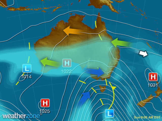Synoptic outlook for Australia on Tue 07 Jul 2020