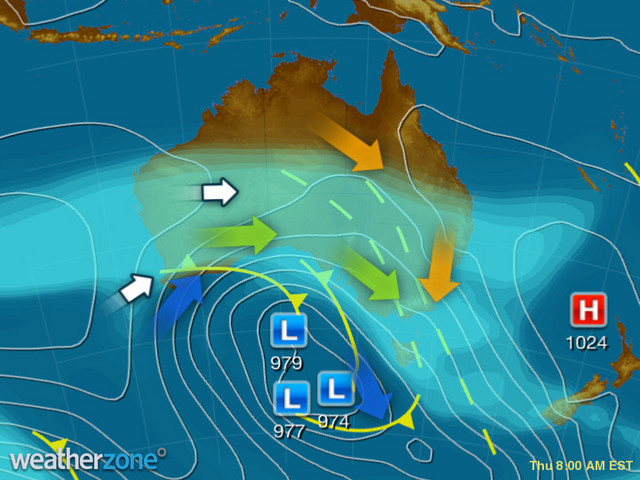 Synoptic outlook for Australia on Wed 26 Feb 2020