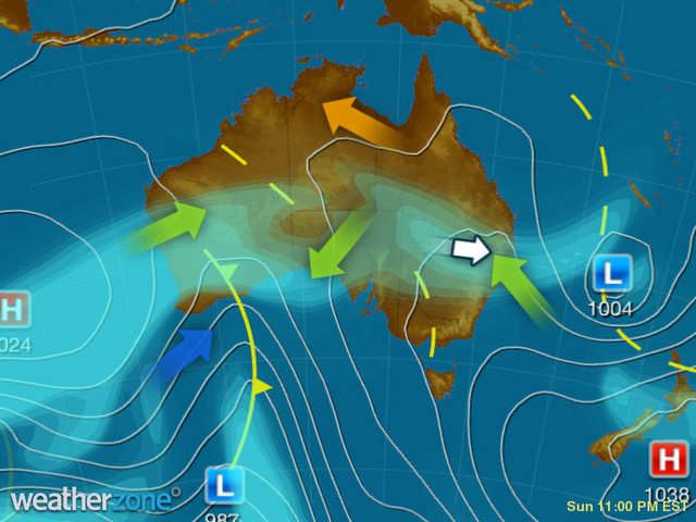 Synoptic outlook for Australia on Fri 10 Jul 2020