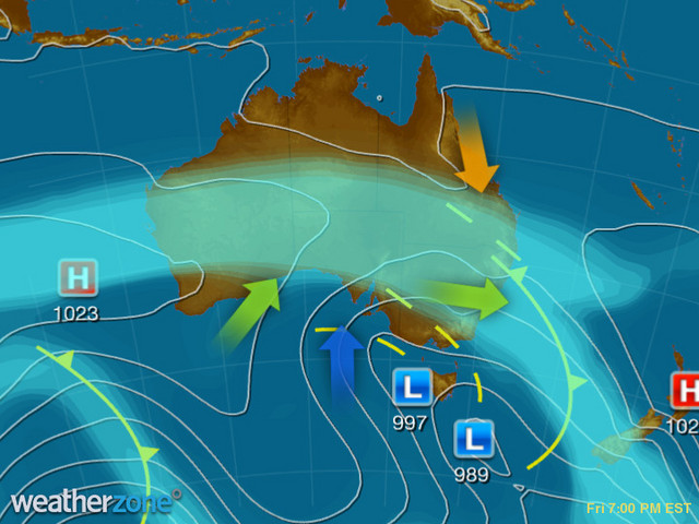 Synoptic outlook for Australia on Sun 08 Dec 2019