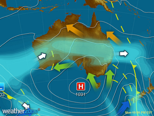 Synoptic outlook for Australia on Sat 24 Aug 2019