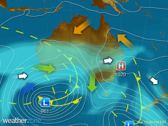 Synoptic outlook for Australia on Fri 23 Aug 2019
