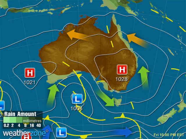 Synoptic outlook for Australia on Mon 06 Jul 2020