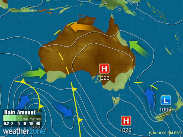 Synoptic outlook for Australia on Mon 01 Jun 2020