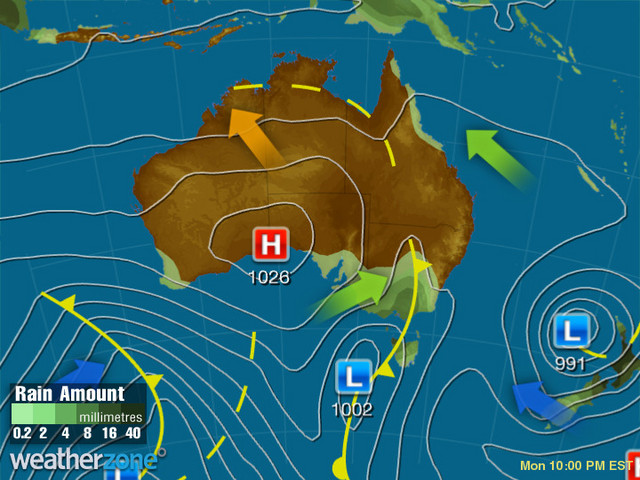 Synoptic outlook for Australia on Sun 25 Aug 2019