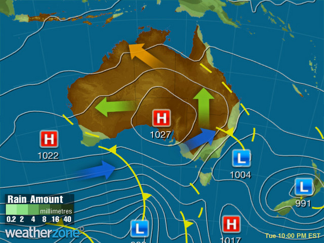 Synoptic outlook for Australia on Fri 20 Sep 2019