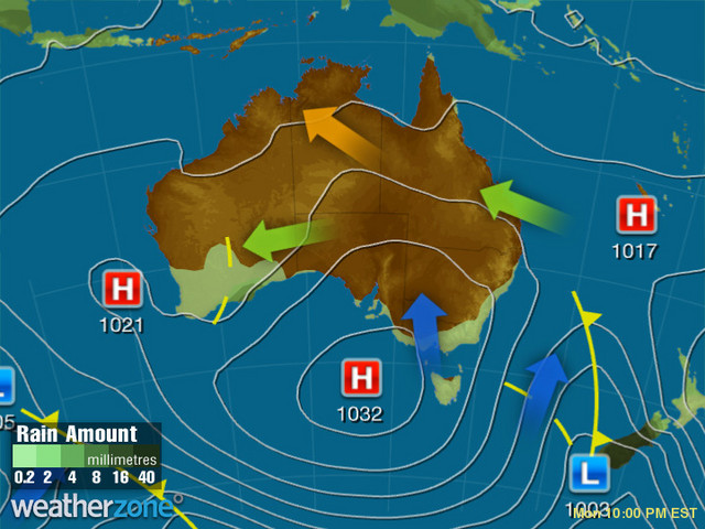 Synoptic outlook for Australia on Mon 09 Dec 2019