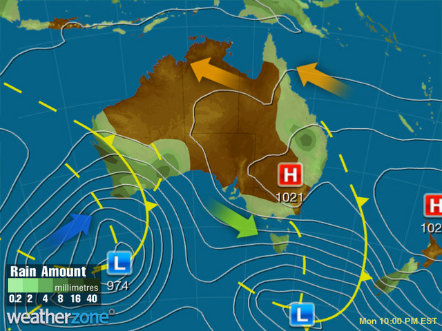 Synoptic outlook for Australia on Fri 22 Nov 2019