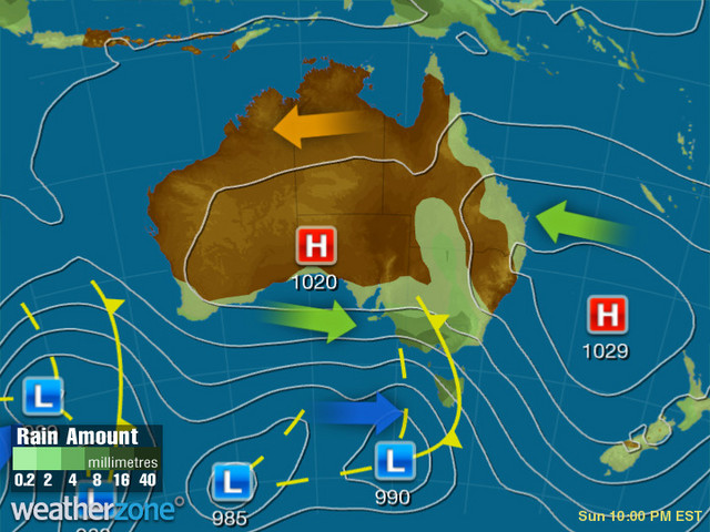 Synoptic outlook for Australia on Mon 16 Dec 2019