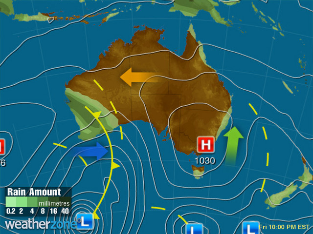 Synoptic outlook for Australia on Tue 18 Feb 2020