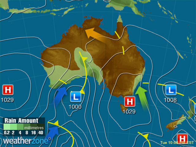 Synoptic outlook for Australia on Sat 21 Sep 2019