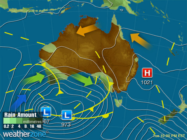 Synoptic outlook for Australia on Thu 16 Jul 2020