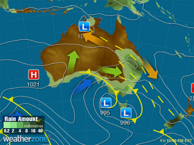 Synoptic outlook for Australia on Tue 10 Dec 2019