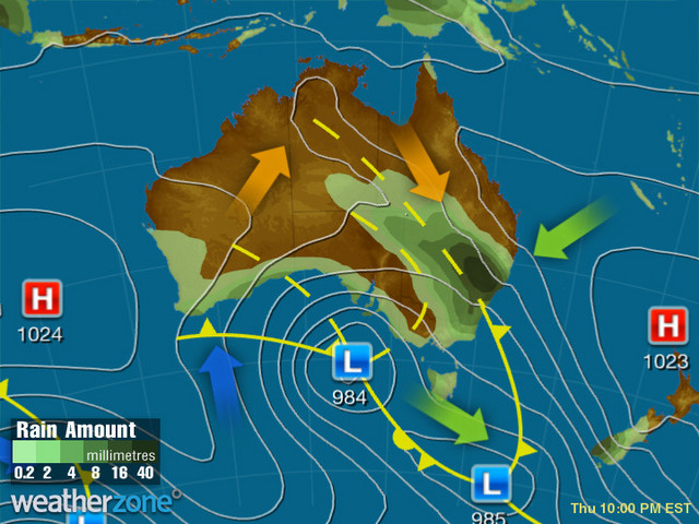 Synoptic outlook for Australia on Wed 11 Dec 2019