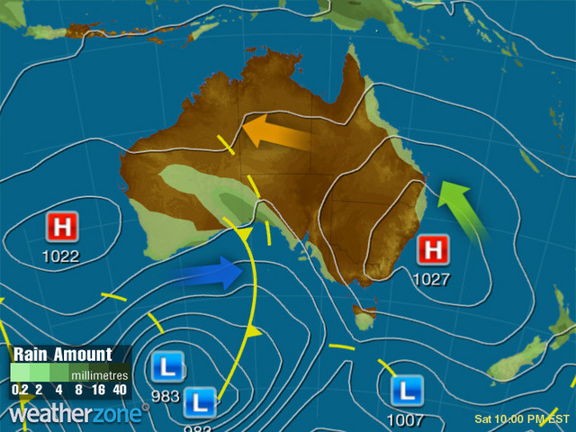 Synoptic outlook for Australia on Fri 28 Feb 2020