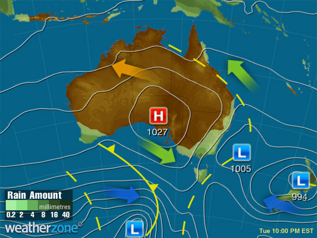 Synoptic outlook for Australia on Sat 23 Nov 2019