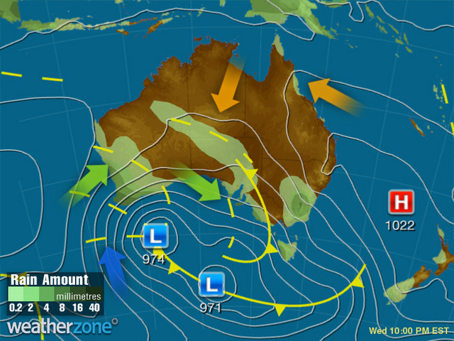 Synoptic outlook for Australia on Mon 26 Aug 2019