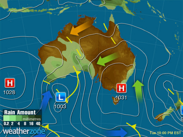 Synoptic outlook for Australia on Sun 09 May 2021