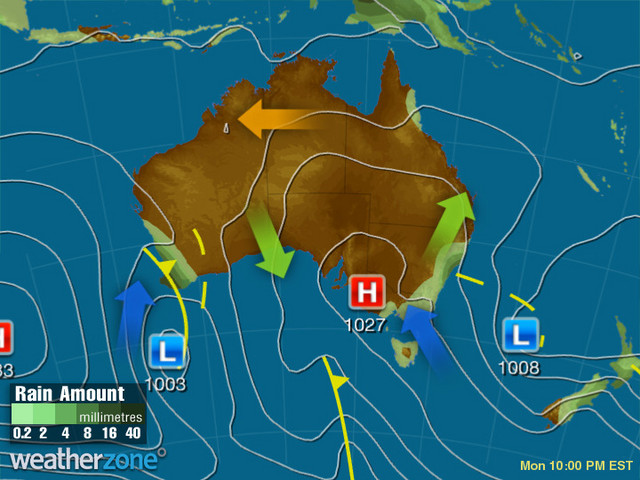 Synoptic outlook for Australia on Thu 20 Feb 2020