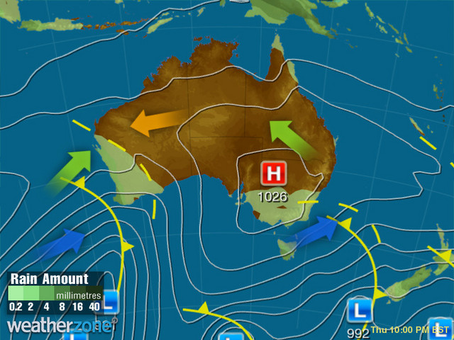 Synoptic outlook for Australia on Thu 09 Apr 2020