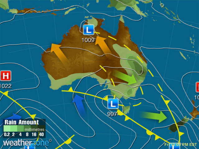 Synoptic outlook for Australia on Wed 18 Dec 2019