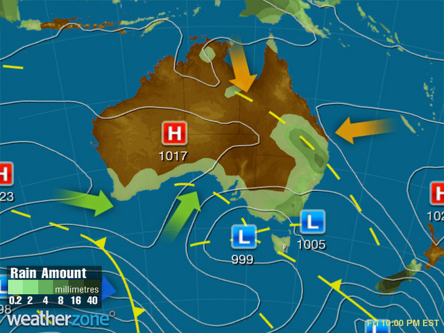 Synoptic outlook for Australia on Mon 23 Sep 2019
