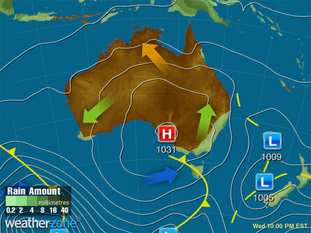 Synoptic outlook for Australia on Thu 09 Jul 2020