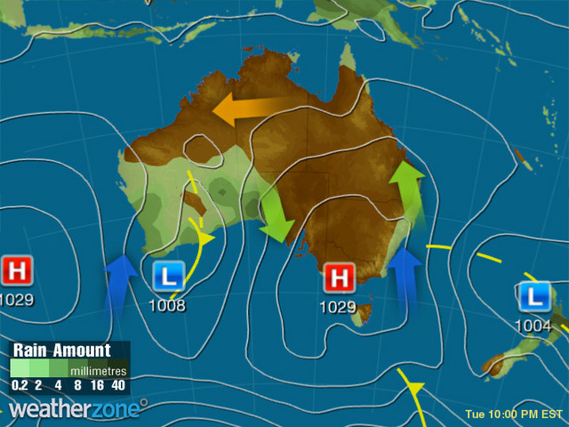 Synoptic outlook for Australia on Tue 27 Aug 2019