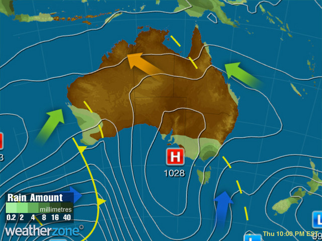 Synoptic outlook for Australia on Wed 28 Aug 2019