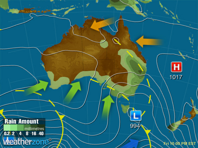 Synoptic outlook for Australia on Mon 10 Aug 2020