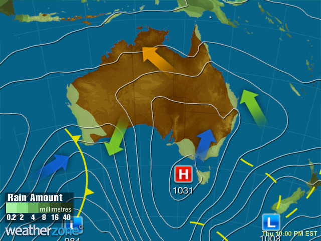 Synoptic outlook for Australia on Tue 24 Sep 2019