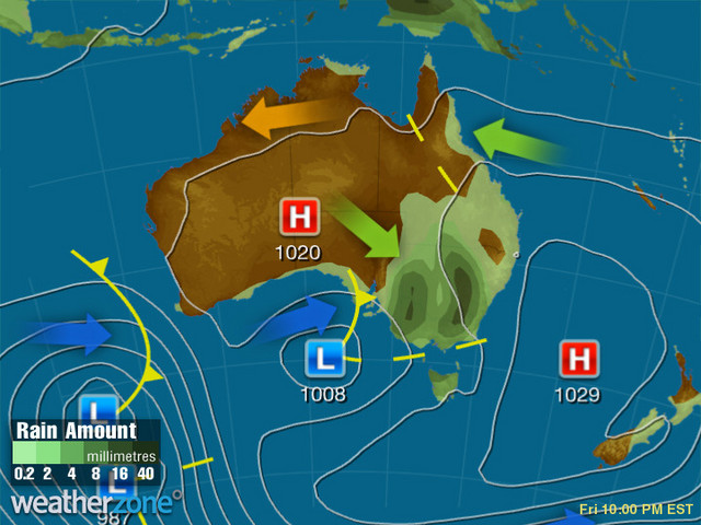 Synoptic outlook for Australia on Thu 29 Aug 2019
