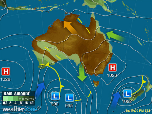 Synoptic outlook for Australia on Mon 20 Jul 2020