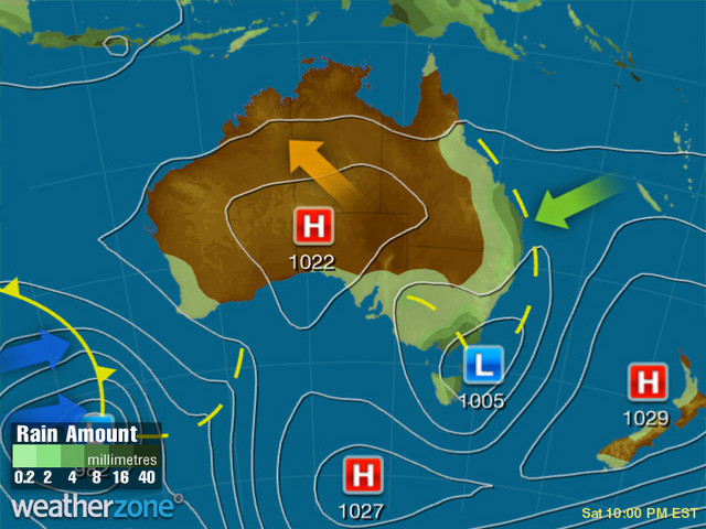 Synoptic outlook for Australia on Sun 12 Apr 2020