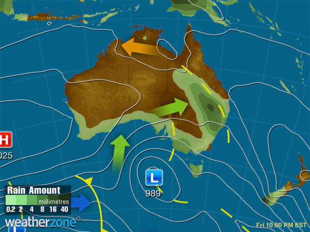 Synoptic outlook for Australia on Mon 13 Jul 2020